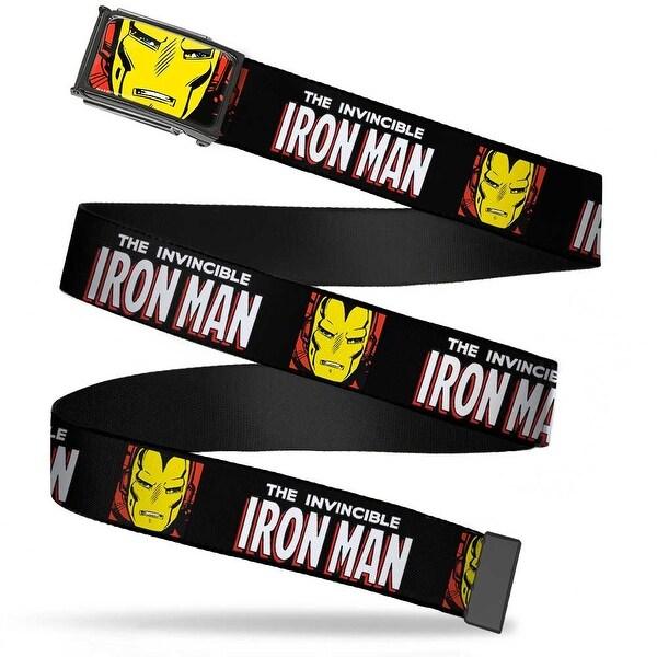 Marvel Comics Iron Man Face Fcg Red Yellow Chrome The Invincible Iron Web Belt
