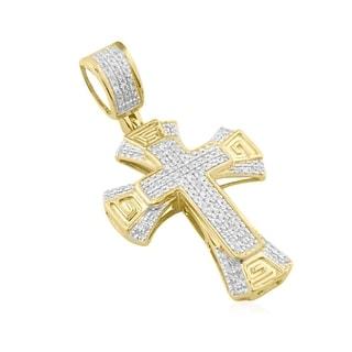 10K Gold Genuine Diamond Cross Charm Small Pendant Mens or Womens 1/5ctw 35mm (i2/i3, i/j)