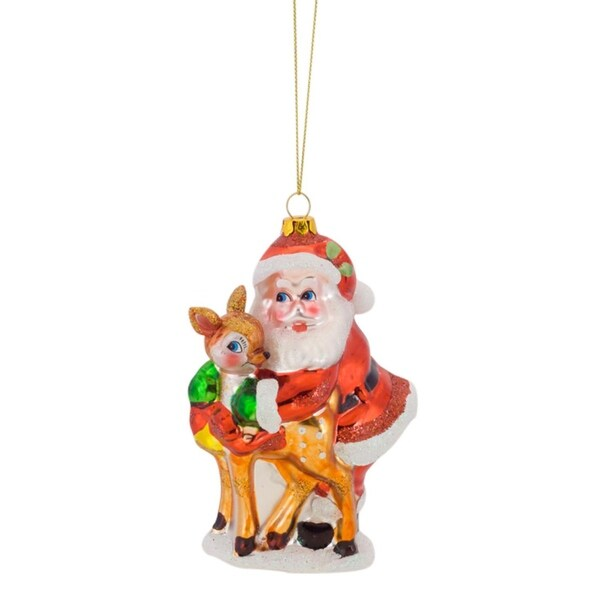 """Pack of 6 Retro Inspired Santa Claus with Baby Reindeer Glass Christmas Ornament 5"""" - RED"""