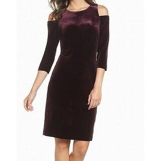 Eliza J Purple Womens Size 14 Velvet Cold-Shoulder Sheath Dress