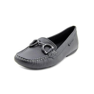 Hush Puppies Cora Women W Moc Toe Leather Black Loafer