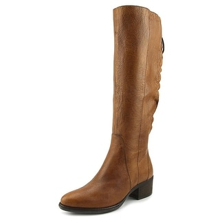 Steve Madden Lace Up Women  Round Toe Leather Tan Knee High Boot