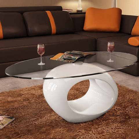 vidaXL Coffee Table with Oval Glass Top High Gloss 2 colors