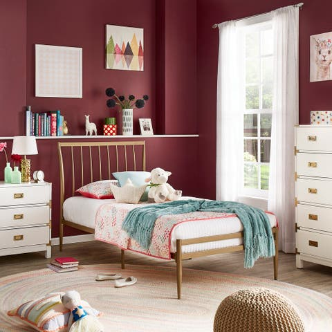 Parkcrest Gold Finish Metal Twin Bed by iNSPIRE Q Bold