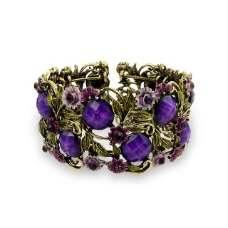Bling Jewelry Imitation Amethyst Crystal Flower Cuff Bracelet Gold Plated