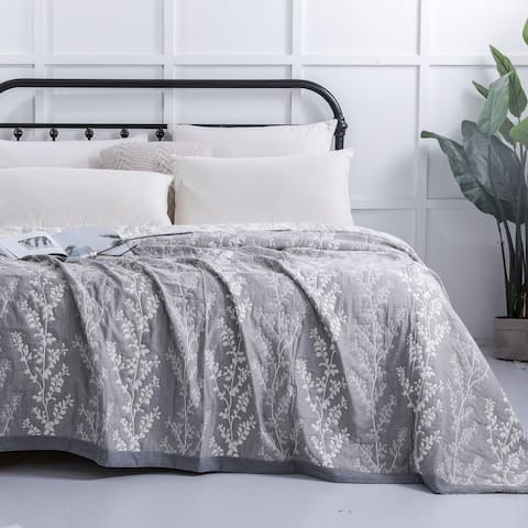 NTBAY Super Soft Stripe & Paisley & Tree Pattern 3-layer Muslin Natural Cotton Twin & Queen & King Bed Blankets (4 Size Options)