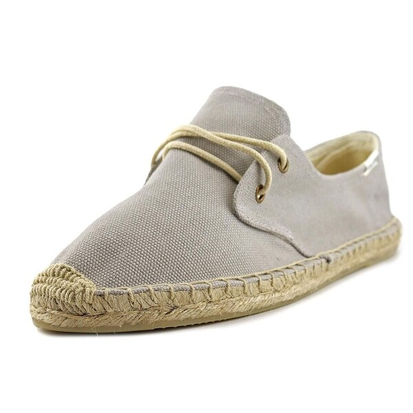 Soludos Lace Up Espadrille Solid Women Round Toe Canvas Gray Espadrille