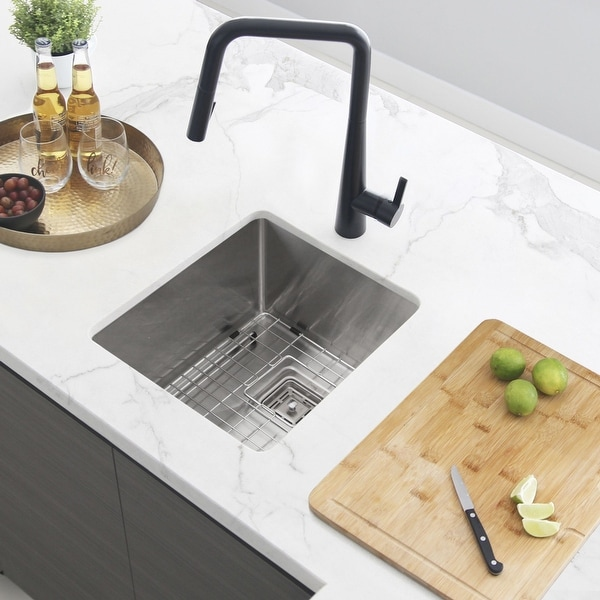 "18""L x 16""W Single Basin Undermount Kitchen Sink with Grid and Strainer"