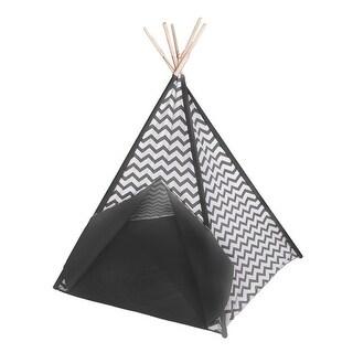 Gray and White Chevron Stripe Cotton Teepee Play Tent w/Window