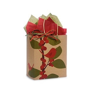 """Pack of 25, Cub Red Bird Berries 100% Recycled Bags 8 X 4.75 X 10.25"""" For Christmas Packaging, Made In Usa."""