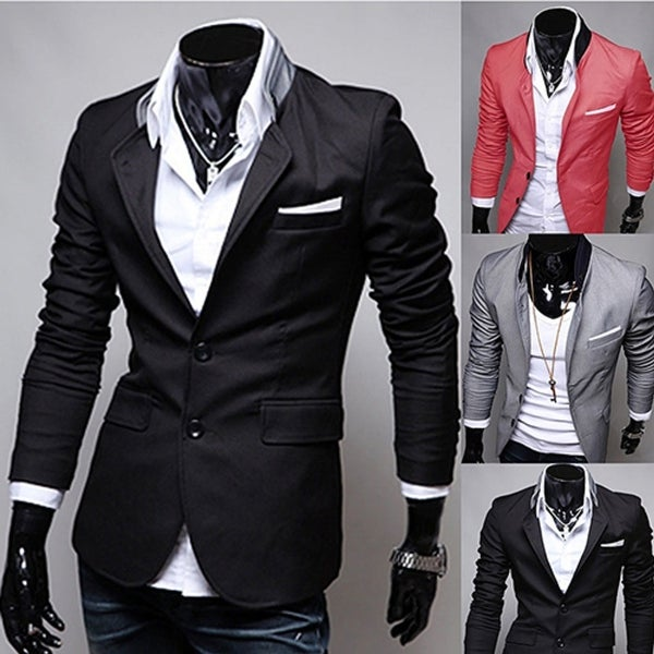 89219507ff Men  x27 s British Style Office Casual Two Buttons Pocket Slim Fit Suit Coat