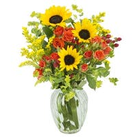 KaBloom: Bright Roses and Serene Greens Mixed Bouquet with Vase