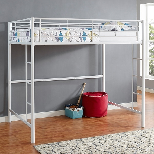 Shop Offex Kids Premium Sturdy Stell Frame Full Size Loft Bed White Free Shipping