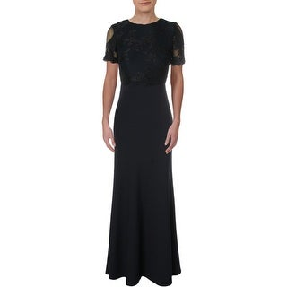 Link to Lauren Ralph Lauren Womens Brinley Evening Dress Lace Inset Scalloped Hem - Navy Similar Items in Dresses