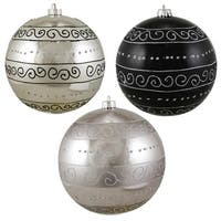 "3ct Black & Silver Swirl Design Shatterproof Christmas Ball Ornaments 6"" (150mm)"