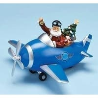 "11.5"" Musical Santa Claus Christmas Figure in Blue Plane with Rotating Propeller"