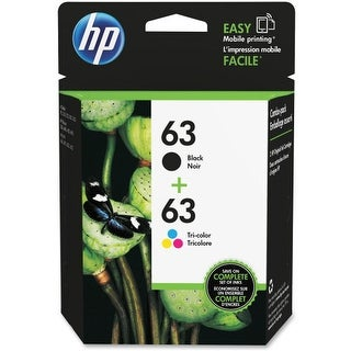 HP 63 Black & Tri-color Original Ink Cartridges, 2 Cartridges (F6U61AN, F6U62AN)