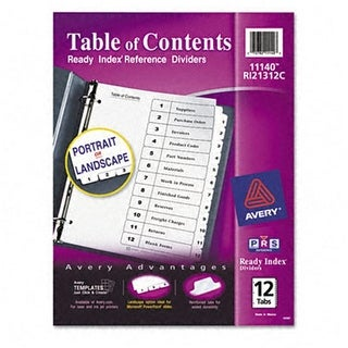 Ready Index Classic Tab Titles 12-Tab 1-12 Letter Black/White