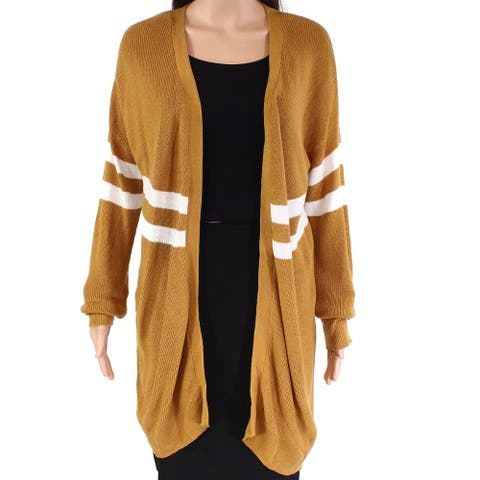 Hippie Rose Women's Sweater Gold Size Large L Cardigan Striped Open