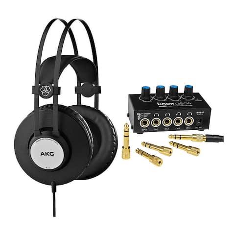 AKG K72 Closed-Back Studio Headphones Bundle with 4-Channel Amplifier
