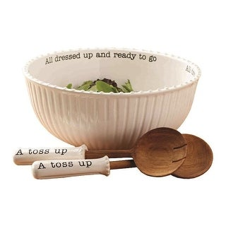 Mud Pie Salad Bowl w/Servers - Large Ceramic Serving Bowl