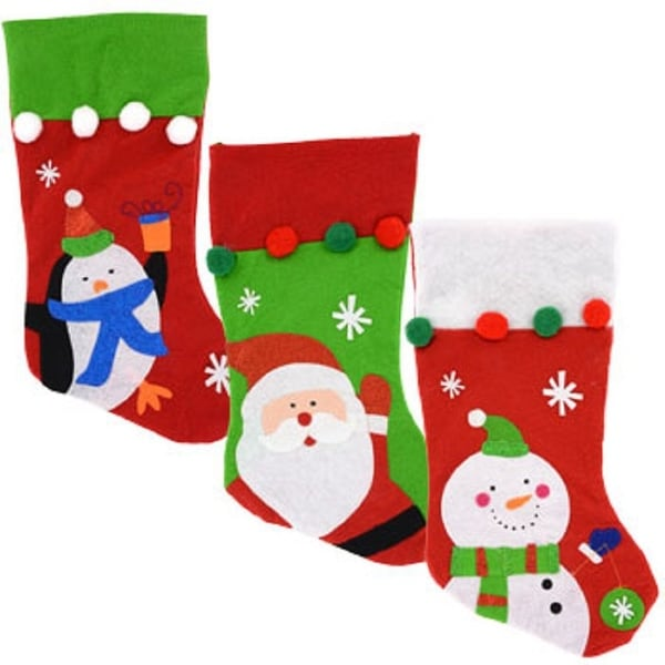 3 Pack: Christmas House Character Stockings with Pom-Pom Embellishments, 17 Inch