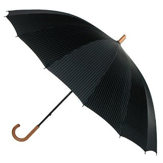 Leighton 60 Inch Wood Handle Pin Stripe Print Doorman Umbrella - Black Stripe - One size