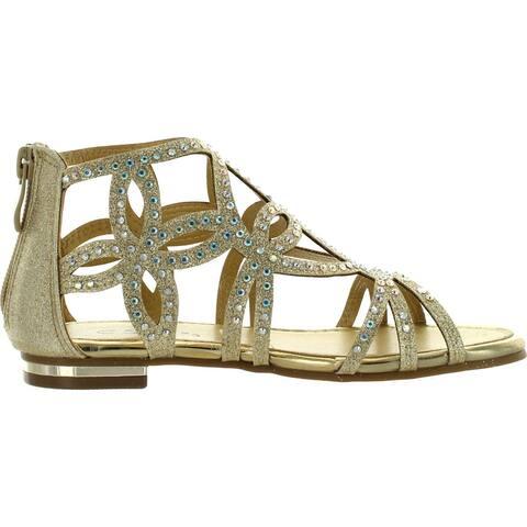 Forever Tory-63K Girls Rhinestone Glittering Cut Out Strap Gladiator Flat Dress Sandal