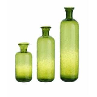 Set of 3 Eco Country Decorative Green Translucent Glass Table Top Bottles 16.5""