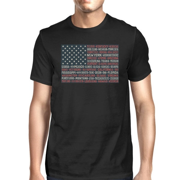7f1ca816732eb Shop 365 Printing 50 States US Flag American Flag Shirt Mens Black ...
