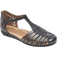 Rockport Women's Cobb Hill Inglewood Huarache Black Full Grain Leather