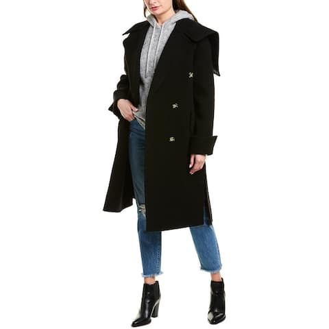 Helmut Lang Leather-Trim Wool Blanket Coat