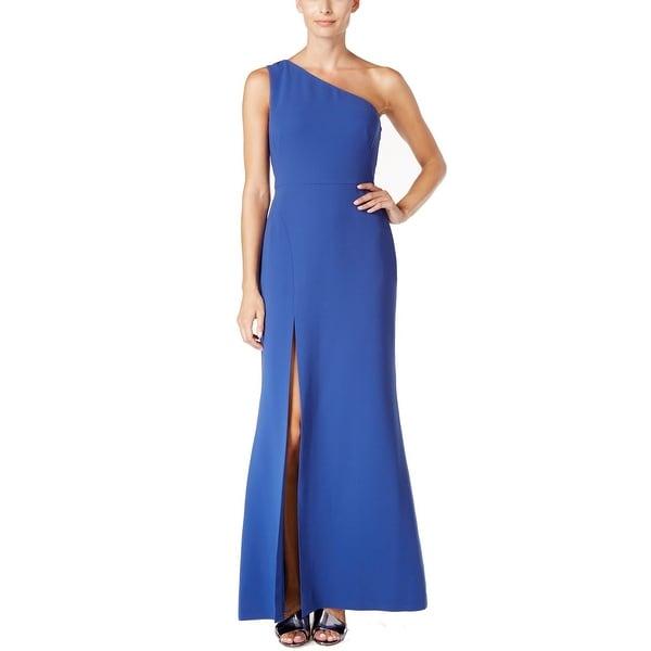 Calvin Klein NEW Blue Women's Size 16 Sheath One-Shoulder Slit Dress