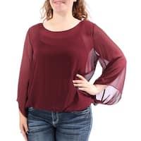 ALFANI Womens Burgundy Long Sleeve Scoop Neck Wear To Work Top  Size: XL