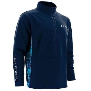 Huk Men's Fleece Small 1/4 Zip Navy Sweater
