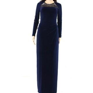 Lauren Ralph Lauren NEW Navy Blue Womens Size 14 Embellished Ball Gown