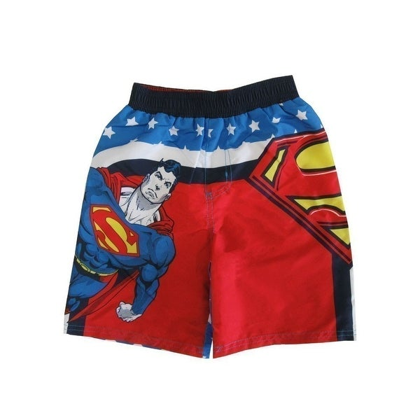 d4280def76 Shop DC Comics Little Boys Red Blue Superman Print UPF 50+ Swim Shorts -  Free Shipping On Orders Over $45 - Overstock - 18163538
