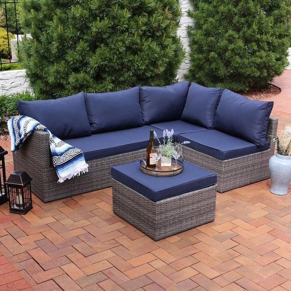Sunnydaze Port Antonio Wicker 4 Piece Patio Sofa Set with Dark Blue Cushions