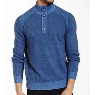 Toscano NEW Blue Mens Size Large L Mock-Neck Marled-Knit Sweater