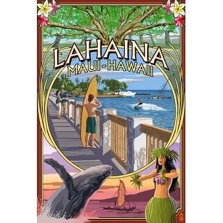 Lahaina, Maui, HI Town Scenes Montage - LP Artwork (Art Print - Multiple Sizes)
