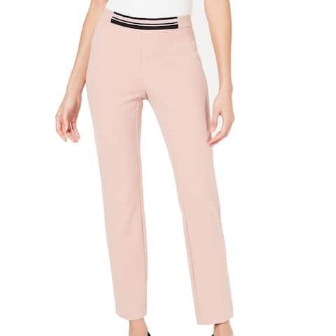 Alfani Womens Pink Size 12 PinStripe Contrast Waist Slim Leg Dress Pants