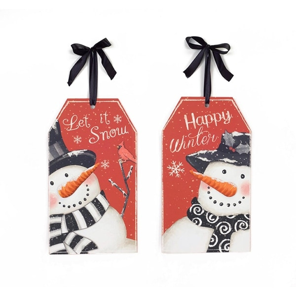 """Pack of 6 Red and White Snowman Gift Tag Shaped Hanging Christmas Wall Signs 11.75"""""""