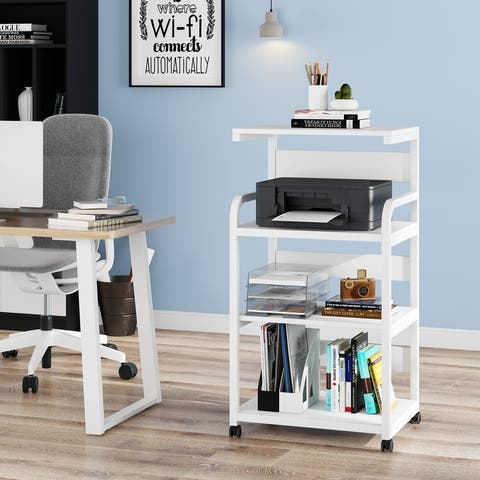 Mobile Printer Stand with Storage Shelves, Large Modern Printer Cart