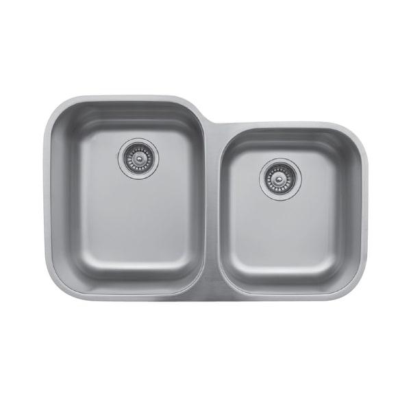 Karran Undermount Stainless Steel 32 in. Double Bowl Kitchen Sink