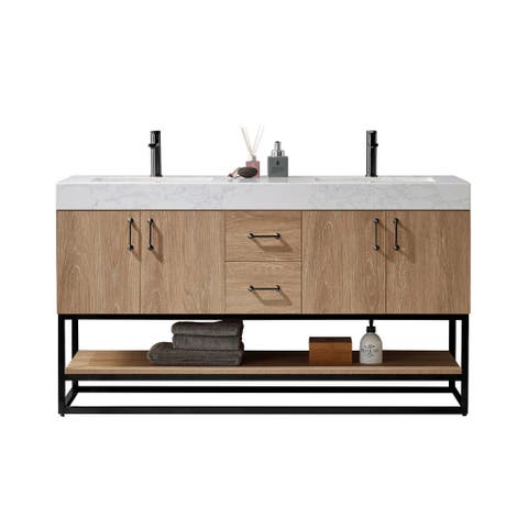 "Alistair 60B"" Vanity with White Grain Stone Countertop Without Mirror"