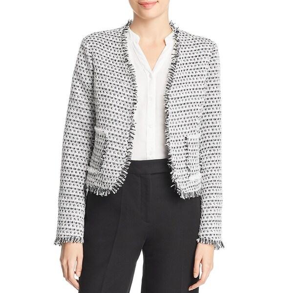 Bagatelle Womens Tweed Jacket Metallic Open Front - White - XL. Opens flyout.