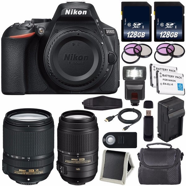 Nikon D5600 DSLR Camera with 18-140mm Lens (Black) International Model 1577  + Nikon 55-300mm f/4 5-5 6G ED VR Lens Bundle