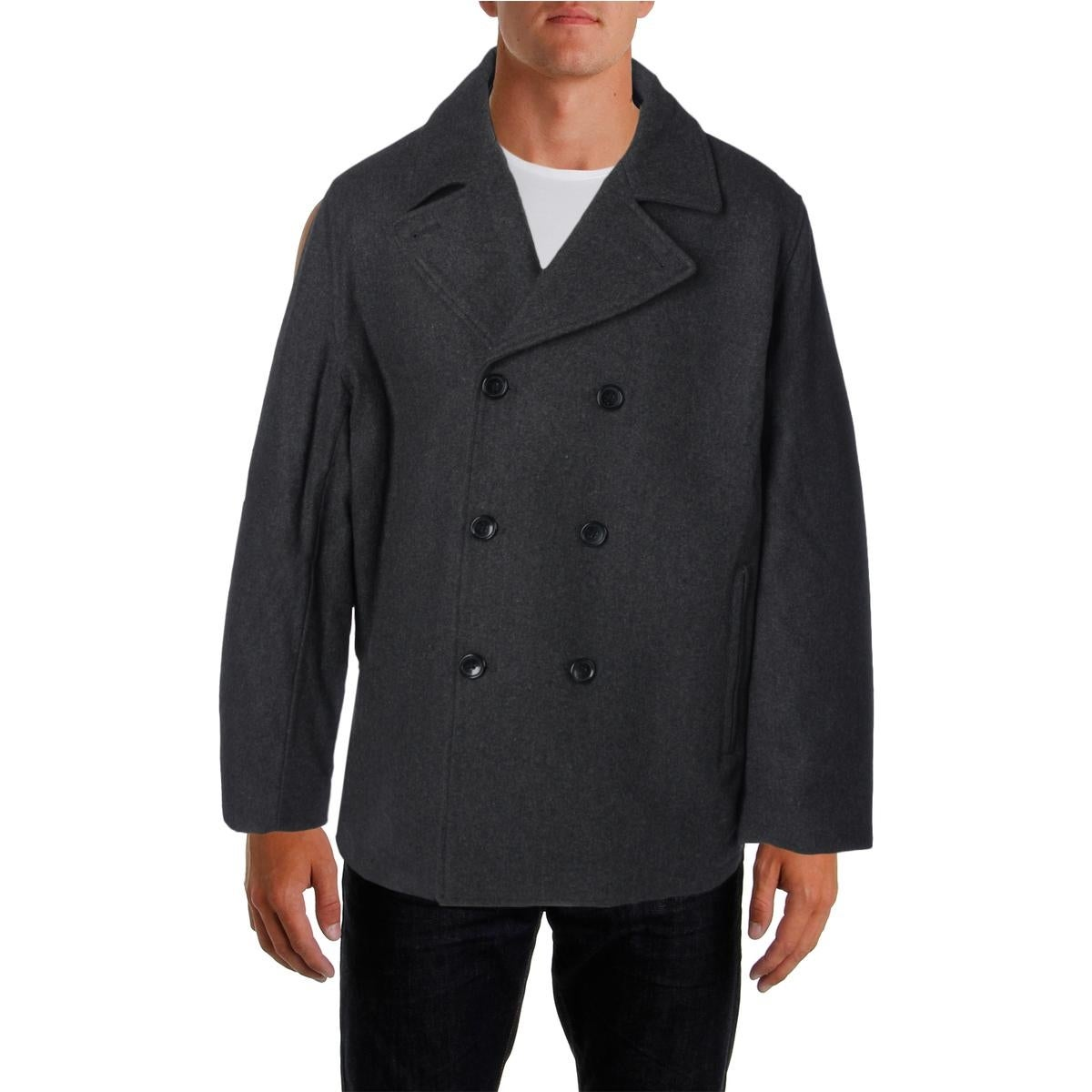 Towne By London Fog Mens Pea Coat Wool Blend Double-Breasted - Thumbnail 1