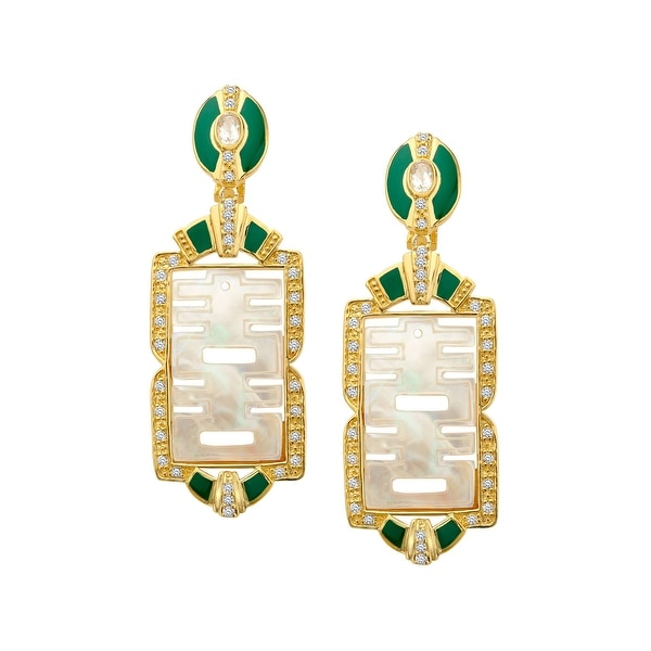 Cristina Sabatini Happy Gem Natural Mother-of-Pearl Drop Earrings in 14K Gold-Plated Sterling Silver