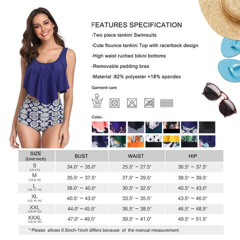 MARINAVIDA Swimsuit for Women Two Pieces Bathing Suits Top, Blue, Size 4.0 - 4